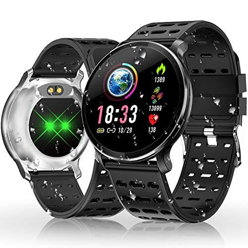HOLALEI Smartwatch, Fitness Armband Wasserdicht Smart Watch IP68 Wasserdicht Fitness Tracker Aktivitäts Uhr Armbanduhr mit Pulsuhren Schrittzähler Schlafmonitor für Damen Herren (Silber)