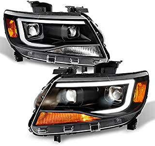 For [Black] 2015 2016 2017 2018 Chevy Colorado Frost White LED DRL Dual Square Projector Headlights Pair Set