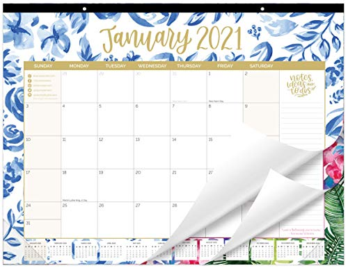 "bloom daily planners 2021 Calendar Year Desk/Wall Monthly Calendar Pad (January 2021 - December 2021) - Large 21"" x 16"" Hanging or Desktop Blotter - Seasonal Designs"