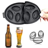 Football Silicone Ice Cube Mold Tray, Makes Six Ice Ball Molds, Perfect for Whiskey, Cocktail