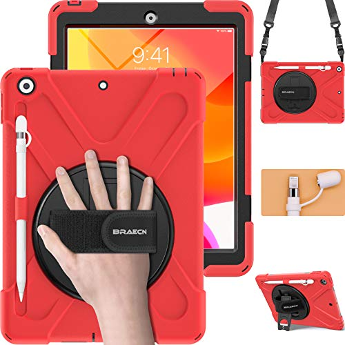 BRAECN iPad 8th Gen 10.2 Case 2020, iPad 7th Generation Case 2019, Rugged Heavy Duty Case with Screen Protector, Pencil Holder, Pencil Cap Holder, Hand Strap, Shoulder Strap, Kickstand for iPad 8 -Red