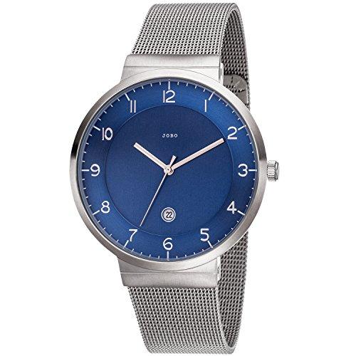 JOBO da uomo orologio da polso analogico al quarzo blu acciaio inossidabile Data Orologio da uomo