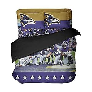 Football Team Players Duvet Cover Sets Modern Pattern Stars Bed Sheet Sets Baltimore Sportsmen Bed Set Queen 3 Pieces(Twin 4pcs)