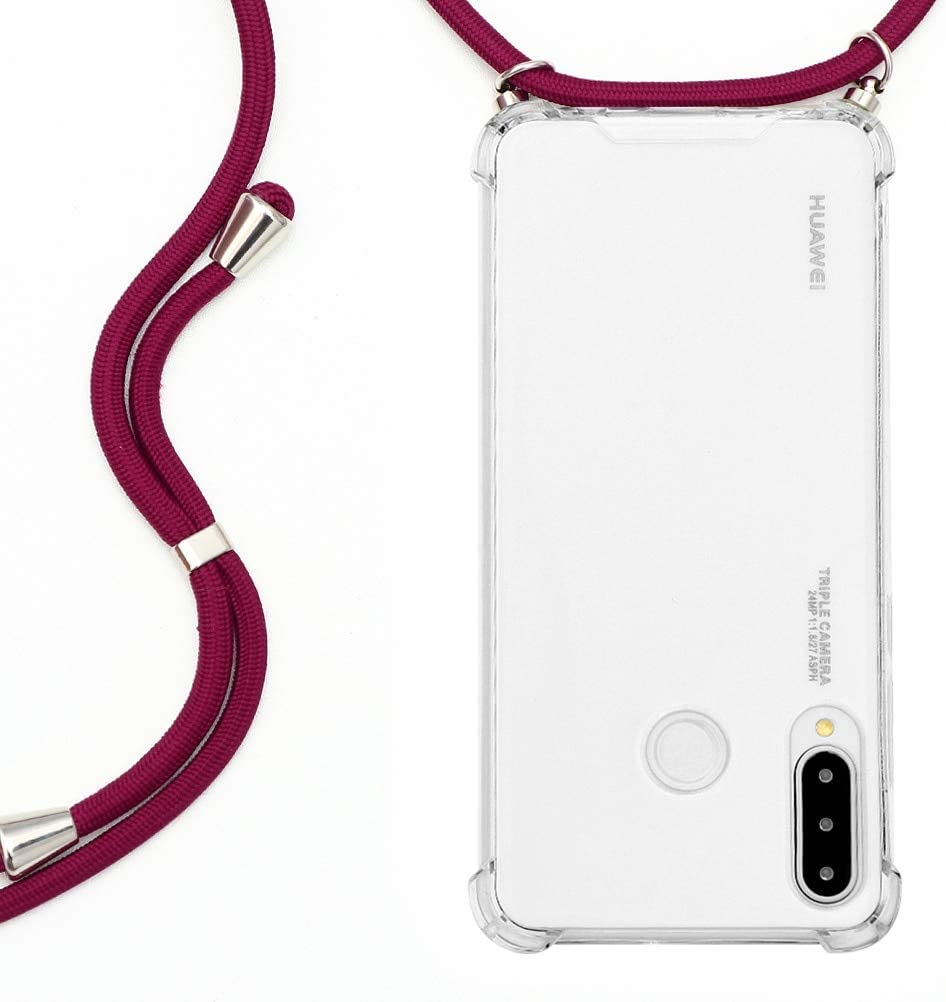 Pnakqil for Huawei P30 Lite / P30 Lite New Edition Case with Cord Strap Clear Silicone TPU Shockproof Ultra Thin Soft Necklace Phone Cover with Adjustable Lanyard Cord Protective Phone Case, Red Wine