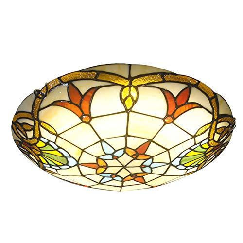 ZMLG Tiffany Style Deckenleuchte, Mediterrane LED-Buntglas-Deckenlampe LED Rund, Pastoral Glasmalerei Retro Deko Unterputzleuchten für Wohnzimmer Flur Veranda Esszimmer,Colourchanging,40cm
