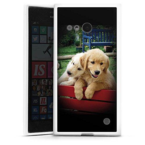 DeinDesign Silikon Hülle kompatibel mit Nokia Lumia 730 Hülle weiß Handyhülle H& Golden Retriever Welpe