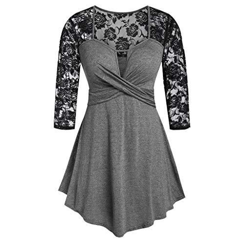 TOPSELD Frauen-Weinlese Langarm-Insert vorne Twist Keyhole Taillen-Spitze-Stitching Tops