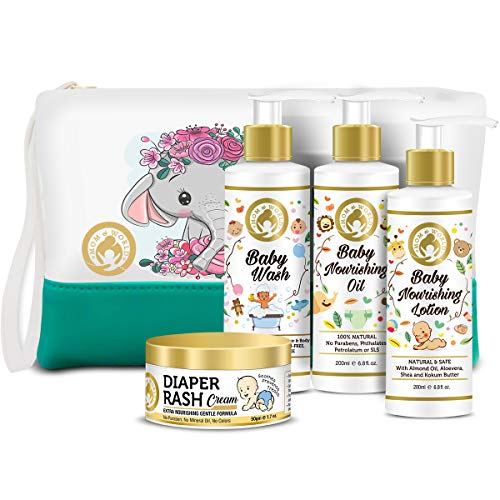 Mom & World Soothing Baby Care Combo | Diaper Rash Cream 50g + Baby Wash 200ml + Baby Nourishing Lotion + Baby Nourishing Oil (200ml Each) With Pouch