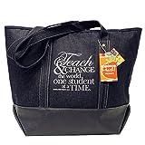 Teacher Peach Denim Tote School Teacher Bag, Perfect Gift for Teachers
