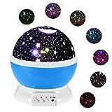 Luz de noche para bebés, proyector rotativo de 360 grados con diseño de luna y estrellas