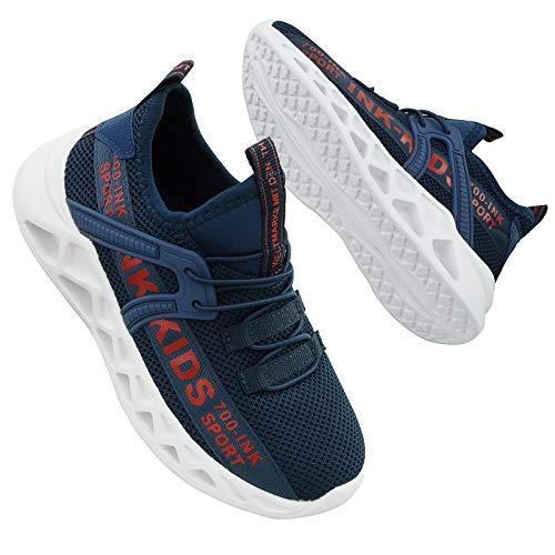 Hoylson Kinder Turnschuhe Jungen Sportschuhe Draußen Sneakers Jungen Hallenschuhe mit Klett(Blau,EU 37/ Etikette 38