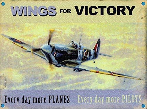 Spitfire Alas de Victory. 2ª Guerra Mundial Battle of Britain Aeroplano Leyenda. Royal Air Force. Metal/Cartel de Acero para Pared - 9 x 6.5 cm (Magnet)