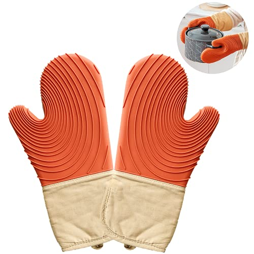 Silikon Ofenhandschuhe 1 Paar, Hitzebeständige Anti-Rutsch Topfhandschuhe, Lange Extreme Sicherheit Backhandschuhe, Backofen Handschuhe, Zum Kochen, Backen, Barbecue Isolation Pads
