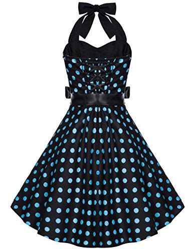 Zarlena Damen Rockabilly Kleid Polka Dots Punkte Tupfen Retro 50er Neckholder Schwarz mit türkisen Dots L 633–L - 2