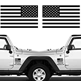 CREATRILL Die Cut Subdued Matte Black American Flag Sticker 3' X 5' Tactical Military Flag USA Decal Great for Jeep, Ford, Chevy, Hard Hat. Car Vinyl Window Bumper Decal Sticker (1 Pair)