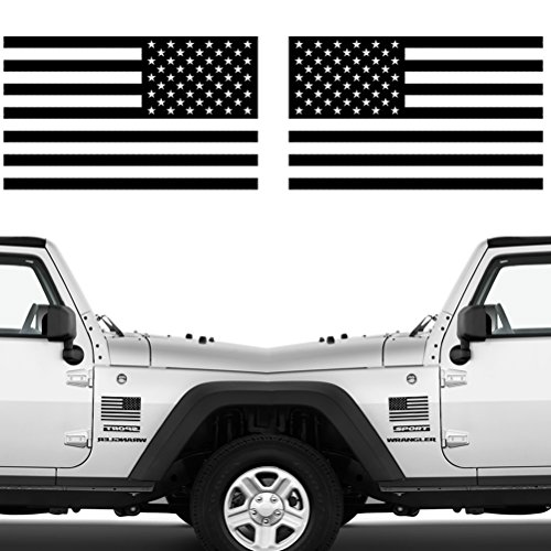 "Die Cut Subdued Matte Black American Flag Sticker 3"" X 5"" Tactical Military Flag USA Decal Great for Car, Hard Hat. Car Vinyl Window Bumper Decal Sticker (1 Pair)"