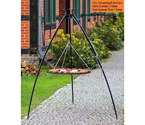 BlackOrange XXL Schwenkgrill 200 cm mit XXL Grillrost Ø 100 cm aus Stahl (ohne Kurbel)