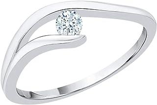 Size-9.75 1//10 cttw, 3 Diamond Promise Ring in 10K White Gold G-H,I2-I3