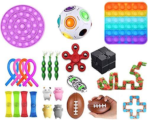 Fidget Spielzeug Set Sensory Spielzeug-Pack billig für Kinder Erwachsene Einfachen Dimple Figetget Spielzeug Stress Relief und Anti-Angst-Tools Zappeln Spiel Zeit totschlagen (25Pc ToY KA)