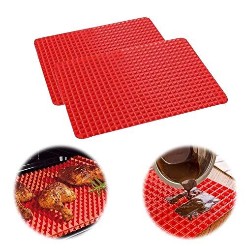 XYDZ Estera de Silicona para Hornear, 2PCS Estera para Hornear Alfombrilla de Microondas Alfombrilla Resistente a Altas Temperaturas Alfombrilla de Silicona Rojo