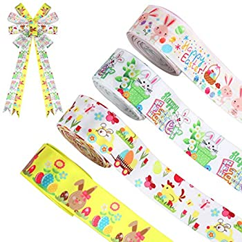 4 Rolls 32 Yard in Total Easter Ribbons Bunny Egg Satin Ribbon Colorful Spring Grosgrain Ribbons for Happy Easter Gift Wrapping Wreath Decor DIY Crafts  1.0 inch x 8 Yard
