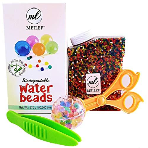 Meilef Starterset 50000 Aquabeads + 2 Zangen zum Sortieren | ungiftig biologisch abbaubare Wasserperlen Fun für Kinder zum Spielen | Pflanzen Deko in Regenbogen Farben als Geschenk Box für Geburtstag
