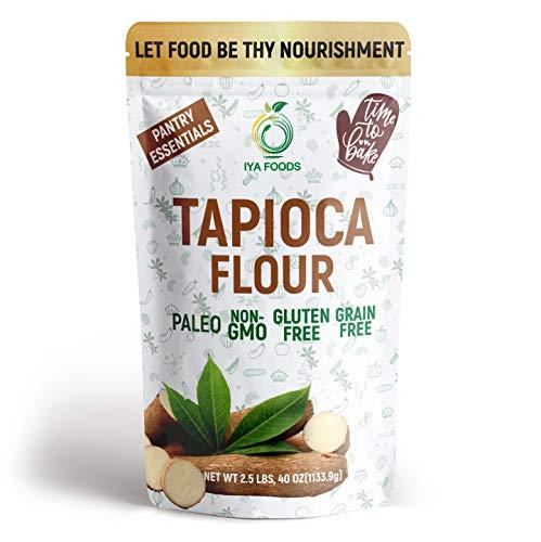 Iya's Premium Tapioca Flour (Also Known as Tapioca Starch) 2.5 lbs. bags. Plant-Based, Grain-Free, Vegan, Gluten-Free, Non-GMO, Allergen-Free, Pure. Made with 100% Cassava Manioc Root.