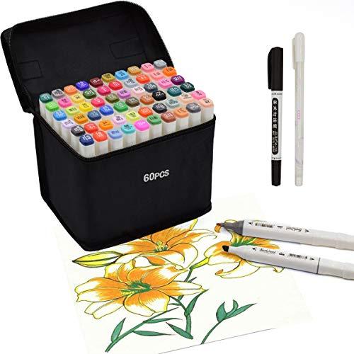 Rotulador de 60 Colores Marker Pen Marcadores Manga Creativos de Certificación SGS Rotulador Alcohol de Punta Doble ara Acuarela Graffiti para Principiantes Set de Rotuladores de Boceto Hecho a Mano