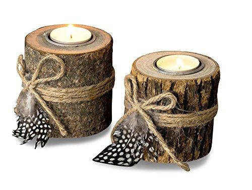 levandeo 2er Set Teelichthalter Holz je 8,5cm hoch Kerzenhalter Federn Kerzenständer Tischdeko