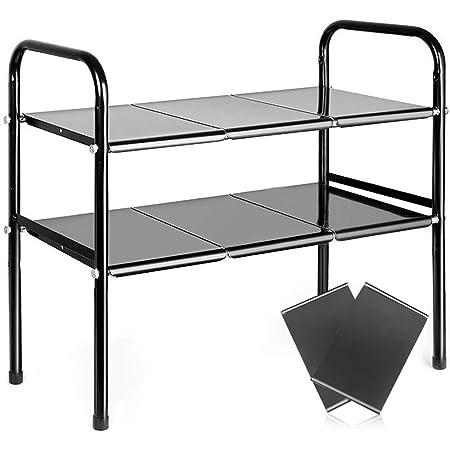 Vsadey シンク下 伸縮棚 スチール製 キッチン収納 スペースラック2段 棚板x8 幅約50~85cmまで伸縮可能 高度調整 組立&お手入れ簡単 排水トラップを避けて すきま収納 台所収納