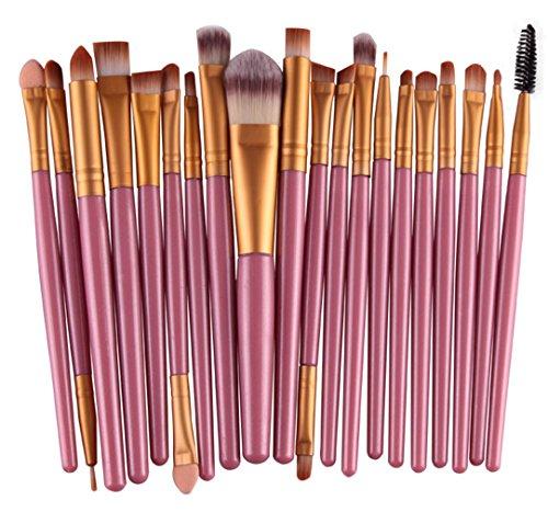 Bigood 20Pcs Pinceaux Poudre Maquillage Professionnel Brosses Cosmétique Make up (Rose Manche Café Tube)