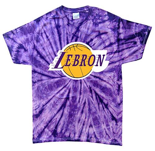 TIE-DYE Purple Los Angeles Lebron Logo T-Shirt Adult