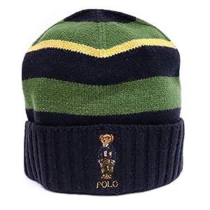 ポロ ラルフローレン (Polo Ralph Lauren) ニット帽 ニットキャップ ベアー ビーニー PC0568 くま ボーダー リブ ユニセックス (411(NAVY)) [並行輸入品]