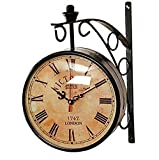 Generic Metal Double Sided Railway Wall Clock (Brown)