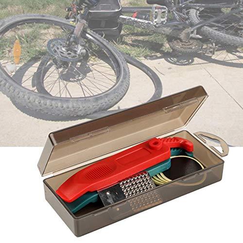 KUIDAMOS Kit de reparación de Llantas de Ciclismo PP Box Parche de Llantas Lámina de Acero Inoxidable para pulir rápidamente la Superficie de reparación del Tubo Interior Ligero, para(Black)