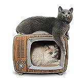 Norvy 猫 爪とぎ 爪研ぎ レトロ風テレビ型 43 x 23 x 36cm 猫 つめとぎ トンネル 猫ハウス 段ボール 高密度 大型 猫ベッド 爪とぎベッド 爪磨き 家具破壊防止