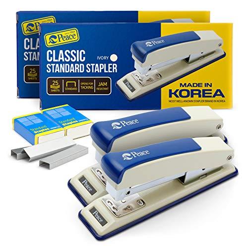 Peace Stapler with 2000 Staples, 2 Pack, Desk Metal Stapler, 25 Sheet Capacity, Standard Commercial Stapler, 100% Made in Korea,Ivory Stapler