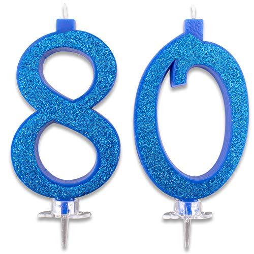 Candeline Maxi 80 Anni per Torta Festa Compleanno 80 | DecorazioniCandele Auguri | Idee Festa a Tema | Altezza 13 CM Blu Glitter