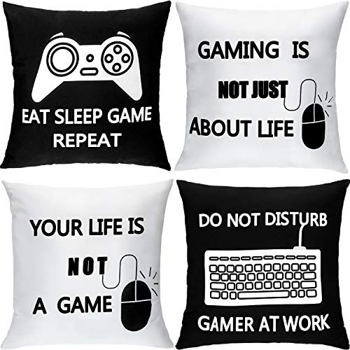 4 Pieces Gaming Cushion Cover Gamer Pillowcase Video Game Cushion Covers for Gaming Fan Video Game Themed Party Sofa Bedroom Funny Novelty Gift Home Decor (45 x 45 cm/ 18 x 18 Inch)
