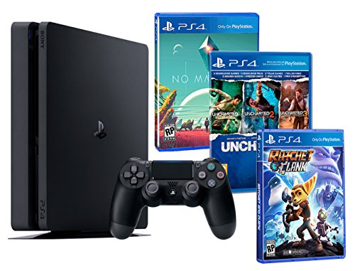 Playstation 4 PS4 Slim 1To PACK FAMILLE plus 5 jeux! Ratchet & Clank + Uncharted Collection (3 in 1) + No Man's Sky