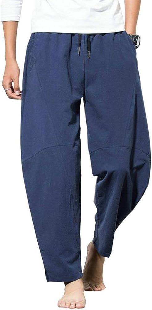 Banana Bucket Men's Casual Baggy Pants Drawstring Cotton Loose Harem Pants