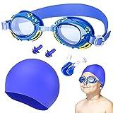 Oziral Gafas de natación para niños Profesional Vidrio de Natación Gafas de buceo con Gorro de natación clip nasal y tapones para los oídos Antiniebla y Protección UV