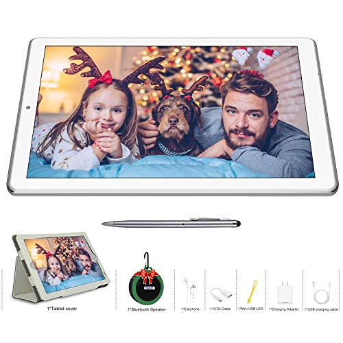 DUODUOGO K6 10.1 inch Tablet+Bluetooth Speaker 2-in-1, Android 9.0, 4GB RAM+64GB ROM, Dual SIM/WiFi, Quad-Core Processor, Dual Camera 5MP + 8MP, 7200mAhTablet, 8W Stereo Sound, Bluetooth 5.0 (Silver)