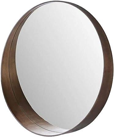 Fly Miroir Miroir De Salle De Bain Nordique Montage Mural Miroir Rond Structure En Bois Massif Couleur Walnut Color Taille 50cm Amazon Fr Cuisine Maison