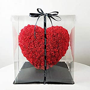 Silk Flower Arrangements Yzbtj Heart Rose, Hand Madeheart Flower - Gift for Mothers Day, Valentines Day, Anniversary & Bridal Showers Weddings Clear Gift Box, 30Cm