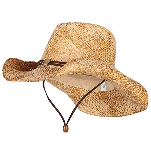 Women's Snake Skin Print Raffia Cowboy Hat - Natural Brown OSFM