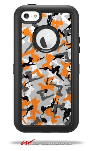 Sexy Girl Silhouette Camo Orange - Decal Style Vinyl Skin fits Otterbox Defender iPhone 5C Case (CASE Sold Separately)