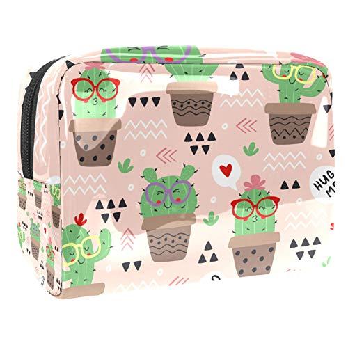 Neceser Viaje Hombre y Mujer Lindo Cactus de Gafas de Sol Pequeño Bolsas de Aseo Impermeable, Neceser Maquillaje Pack Neceser Baño Toiletry Kit, Cosmético Organizadores de Viaje 18.5x7.5x13cm