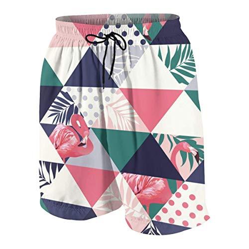 Niños Adolescentes Pantalones Cortos de Playa Bañadores Jungle Pink Flamingos Boardshort Pantalones con Bolsillos S ✅