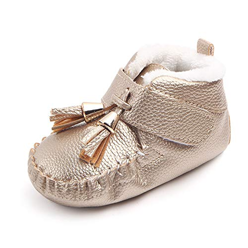 LIDIANO Infant Toddler Baby High-top Plush Warm Snow Boots Anti-Slip Rubber Sole Tassels Booties (12-18 Months, Gold)